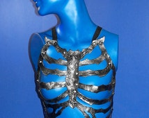 Embossed Gunmetal Spiked Leather SkeleTop Wearable Rib Cage by NyghtCraft Leatherwerks