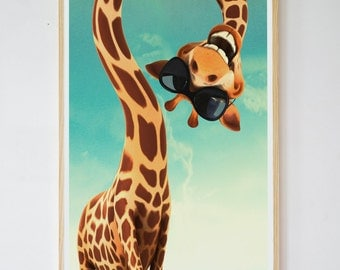 funny giraffe with sun glasses: Art print poster illustration print wall art wall decor animal poster