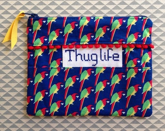 Sleeve seam and stitch 'Thug life' cross embroidery hand made