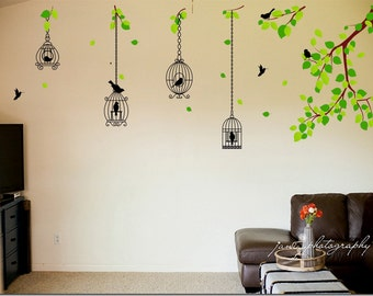 Bird Cage Wall Decal - Reusable Vinyl Fabric - Repositionable Decal - Nursery Room Decals - Home Decor - Bird Cage Hangin From Branch Decal