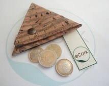 Cork Coin Wallet, Cork Wallet, Leather Cork, Cork Case, Cork Purse, Cork, Triangle Cork Coin Wallet, Cork Gift, Nature Cork, Ecologic Cork
