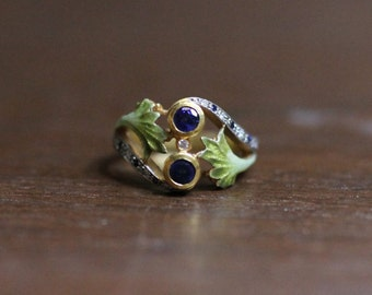 Masriera Sapphire and Enamel Ring