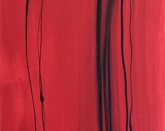 Untitled (Red) Original Modern Abstract Painting (24X48 inches)