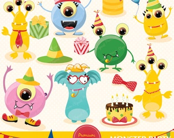 Monsters digital clipart, Monsters clip art, Monsters birthday party, Monsters party for personal and commercial use - CA142
