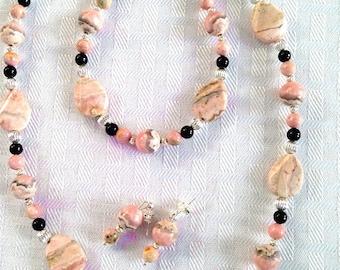 Necklace Set Rhodochrosite Black Onyx