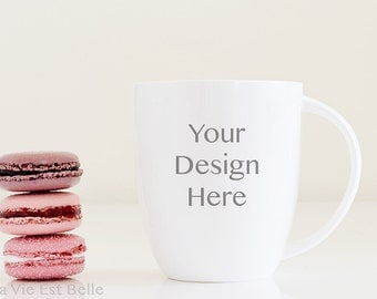 Styled Stock Photography - Mug photo with pink and purple french macaroons - Chic Professional Styled stock photography for modern business