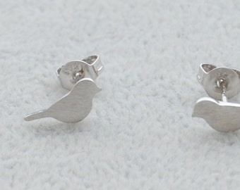 Pair of Little Bird Stud Earrings in Sterling Silver Textured Finish Cute and Pretty