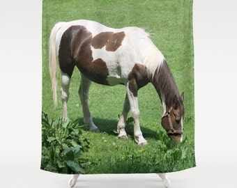 Horse in Spring Field, Shower Curtain,Brown,Green,Bath Curtain,Bathroom Decor,Accessories,Bathroom Art,Designer Curtain,Interior Design