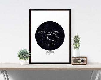 Printable Art , Ursa Major Constellation, The Great Bear, The Big Dipper, Instant Download Art, Stargazer Series