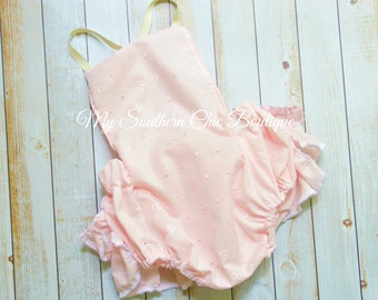 Pink eyelet Bubble Romper- Baby Girl Romper- Sun suit