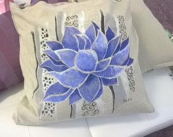 Lotus Flower handpainted on pillowcase