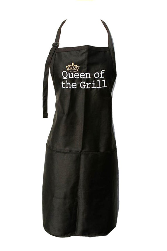 Queen of the Grill with Crown (Adult Apron) Available in Colors too.