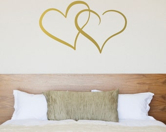 Interlocking Hearts Wall Decal / Love Heart Sticker for Couple's Bedroom