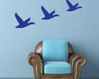 Three Flying Ducks Wall Decal - Vintage / Retro Design Wall Sticker