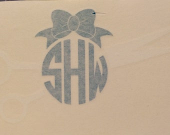 Monogrammed Hair Stylist Scissors with Bow Sticker Vinyl Decal