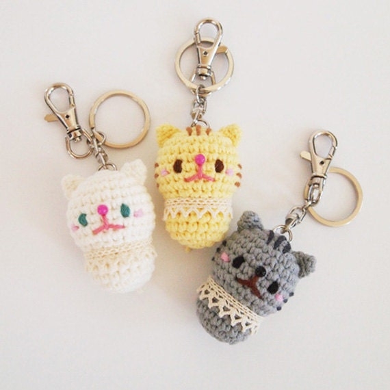 Crochet Keychain : Cat Crochet Doll Amigurumi Keychain Keyring by isoDreams on Etsy