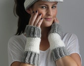 Tunisian Crochet Pattern - Sports Luxe Arm Warmers and Visor