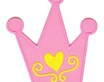 ap93 Iron on patches Embroidery Pink Crown Princess