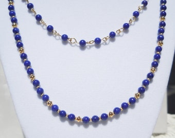 Lapis-dyed howlite and gold 2-strand necklace