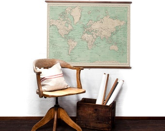 World Map in Sea Green wall hanging