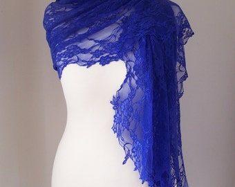 Foulard in Blue Floral Lace / Foulard in Lace / Stole