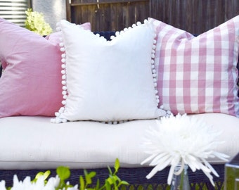 White pillow Cover with pom pom