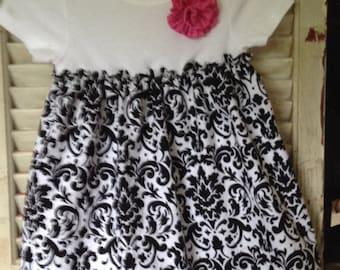 Black and White Onesie Dress and Headband, Onesie dress, baby dress