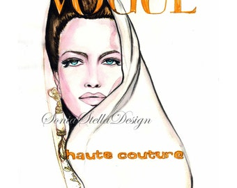 """Karen Mulder"""" Vogue Cover  Watercolor Fashion Illustration Limited Edition Fashion Art Painting Only 15 left 4 sizes to choose from"""