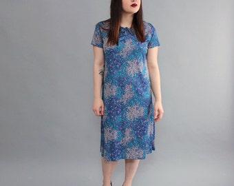 vintage shift dress, large xl . bubble print dress . 1970s shift dress in blue, turquoise and purple . vintage secretary dress