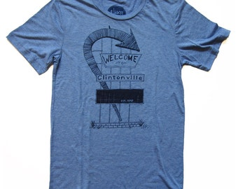 Clintonville Tshirt, Screenprinted Tshirt, Triblend Blue, Columbus, Ohio