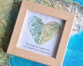 Gift for Boyfriend Long Distance Map Heart with Custom Text Quote