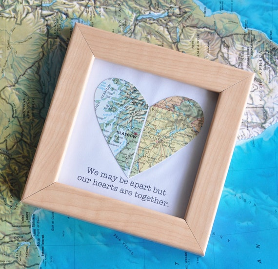 Gift For Boyfriend Long Distance Map Heart With Custom Text
