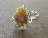 Mini Geode Clutched Ring Druzy Ring Tabasco Geode Ring Geode Jewelry Raw Crystal Ring