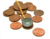 Enameled lucky penny pendant necklace, Ash