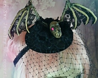 ON SALE Vampire Bat Skeleton Gothic Fascinator ready to ship!! Was 229.00