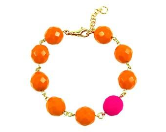 Neon Pink Statement Bracelet, Orange Statement Bracelet, Pink Bracelet, Orange Bracelet, Neon Jewelry, Neon Pink Jewelry, Pink Neon Bracelet