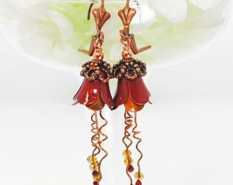 Red Yellow Flower Dangle Earrings Campanas Rojas - Flower Jewelry - Flower Earrings