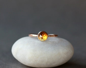 Citrine Ring, Rose Cut Citrine Ring, 14k Gold Ring, Hammered Gold Band, Gemstone Solitaire Ring, November Birthstone, Handmade Jewelry