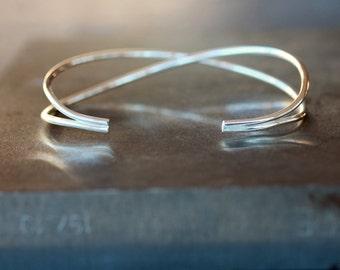 Criss Cross Cuff, Cuff Bracelet, Silver Cuff Bracelet, Sterling Silver, Crossed Cuff, Adjustable Bracelet, Modern Design, Minimalist Jewelry
