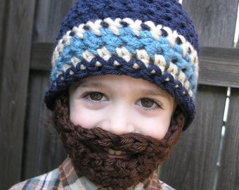Instant Download- Pattern for Crochet Bearded Beanie size 3-5 years old