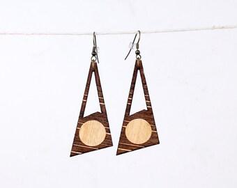 Laser Cut Wood Geometric Earrings