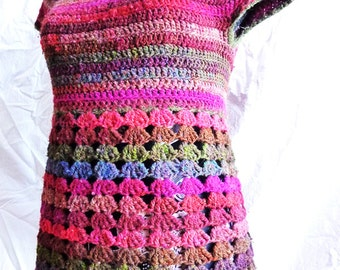Violaine top - Crochet pattern PDF woman's vest with empire waist - size XS to XL - Instant download, permission to sell
