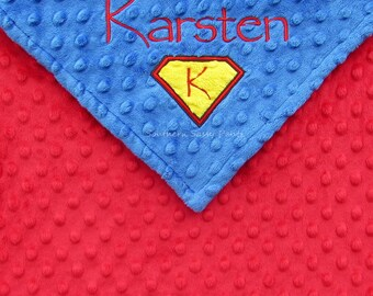 Superman Inspired Baby Boy Gift , Personalized Security Blanket , Minky Lovie for Boys
