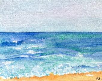 ACEO Seascape watercolor painting original, ocean art, beach shore painting, small nautical art card, beach house decor