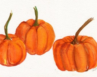 Pumpkin watercolor painting original, Kitchen decor, pumpkin kitchen wall art, orange watercolor, Farmhouse decor 5 x 7,