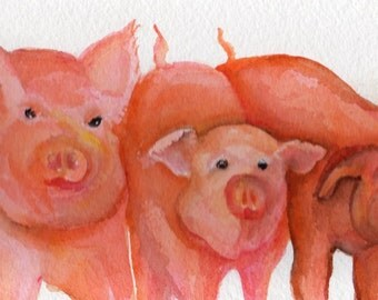 Pigs watercolor painting original. Pig Artwork, pig painting, pigs watercolor art, Pigs painting, watercolor pigs decor