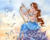 Mermaid art, siren, fantasy print, art print, birds, harp, pre-raphaelite, 8x10 by Meredith Dillman