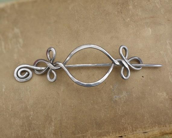 Celtic Open Eye With A Twist Aluminum Shawl Pin, Hair Pin, Scarf Pin, Barrette, Clip, Hair Slide, Light Weight Long Hair Accessory, Women