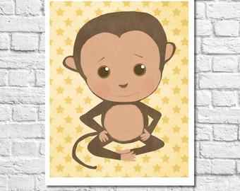Monkey Nursery Art Cute Monkey Nursery Decor Baby Boy Nursery Wall Art Baby Girl Nursery Print Jungle Nursery Ideas Circus Animal Picture