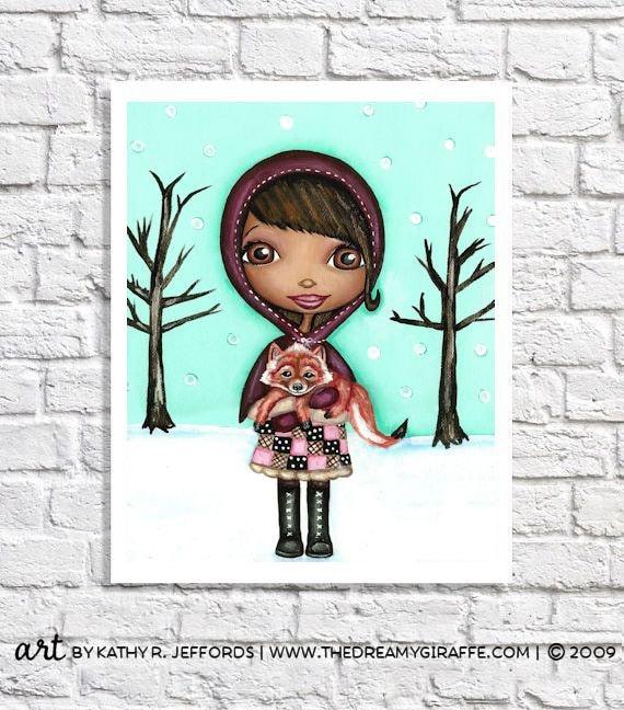 African American Art Baby Girl Wall Art Little Girl Room Decor Children Artwork Black Girl Portrait Woodland Fox Pictures For Nursery Art